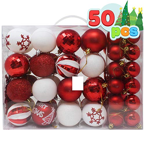 Joiedomi 50 Pcs Christmas Ornaments, Assorted Shatterproof Christmas Ornaments for Holidays, Indoor/Outdoor Party Decoration, Tree Ornaments, and Events (Red & White)