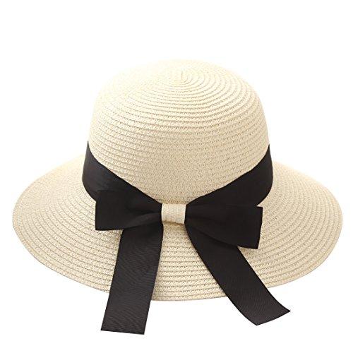Flying Rabbit Damen Sonnenhüte Faltbarer Strohhut mit Sonnenschutz Breite Krempe (Style-1-Milk white)