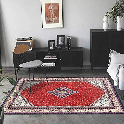 Teppich Moderner Wohnzimmer Große Area Rugs Mode großen roten geometrischen ethnischen Stil Schlafzimmer Zimmer Teppich Sofa Tisch Kind Krabbeln Matte 160×200M (5ft3 x 6ft6)