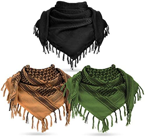 3 Pieces Military Shemagh Tactical Desert Scarf Cotton Keffiyeh Fringe Scarf Arab Plaid Head product image