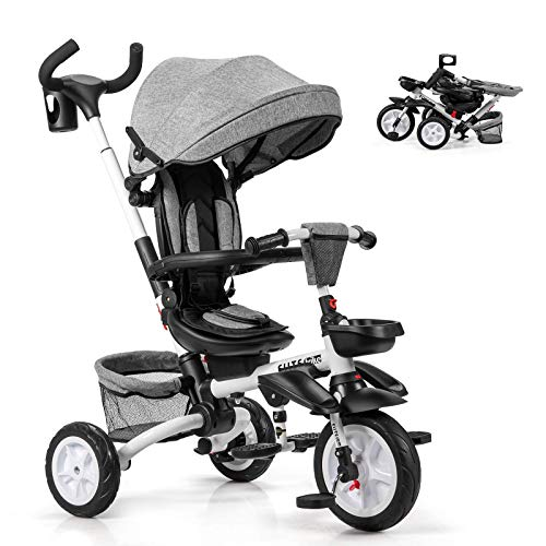 XLAHD Toy car Folding Baby Tricycle, 6 in 1 Kids First Bike Stroller with 360° Swivel Seat, Adjustable & Removable Canopy, Parent Handle, Double Brake Push Trike for 1-5 Year Old (Grey)