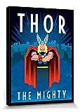 1art1 Thor - Marvel Comics, Art Deco Cuadro, Lienzo Montado sobre Bastidor (40 x 30cm)
