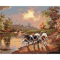 キャンバスにフレームが付いた数字の牛による油絵DIYキット大人のための手作りのアクリル絵の具色の描画の装飾