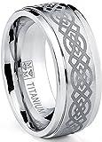 Ultimate Metals Co. Herren Titan Ehering Mit Lasergravur Celtic Design,9mm Bequemlichkeit Passen,Größe 61.5