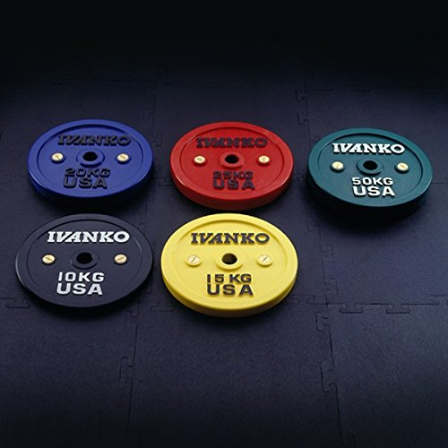 Ivanko Calibrated Colored Bumper Plates - 25 kg Pair for Olympic Bars and Powerlifting BarsÊ