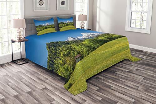 ABAKUHAUS Deutschland Tagesdecke Set, Bayerische Alpen Dorf, Set mit Kissenbezügen Romantischer Stil, für Doppelbetten 264 x 220 cm, Wald Grün Farngrün Himmelblau