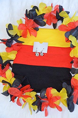Deutschland-Set Deutschland WM-Fussball-Weltmeisterschaft Fan-Set 3tlg. 1x Ohrringe mit Fussball (Modeschmuck), 1x Deutschlandkette (Hawaikette) und 1x Haarband (Schwarz/Rot/Gelb) Sport Fan