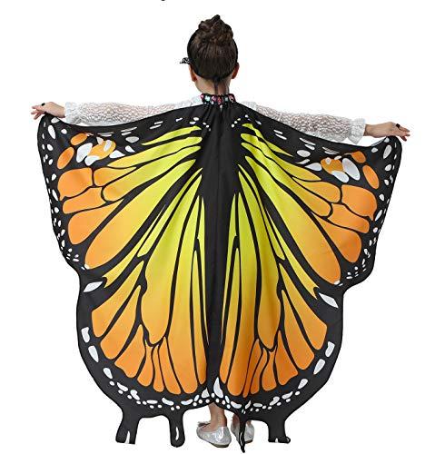 Halloween Butterfly Wings for Girls Kids Butterfly Costume Fairy Shawl Festival Rave Dress (Orange)