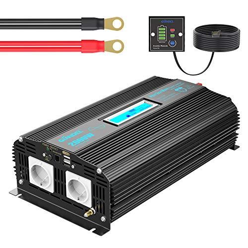 Reiner Sinus Wechselrichter 2000W DC 12V auf 230V AC Spannungswandler Power Inverter mit Fernbedienung Bildschirm LCD 2xAC-Steckdosen und 2x2.4A USB-Anschlüssen für Wohnmobil [24 Monaten Garantie]