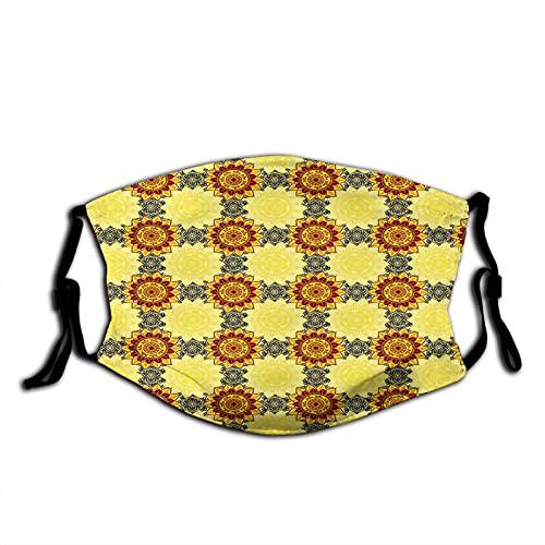 FULIYA Mascarillas faciales lavables reutilizables para mujeres y hombres, mandala amarillo con marco floral asiático pétalos árabes Boho,12 x 19 cm mediano unisex adulto