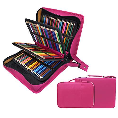 YOUSHARES - Estuche para lápices de colores de piel sintética con 200 + 16 compartimentos, gran capacidad, para lápices de colores Prismacolor, lápices de colores Crayola(rojo)