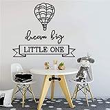 Dream Big Little One Hot Air Balloon vinilo calcomanía sala de estar Art Deco pared pegatina Mural A5 57x49cm