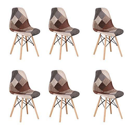 Uderkiny Set di 6 Sedia in Stile Nordico Sedia da Pranzo Patchwork, Adatte per Sala da Pranzo Soggiorno (Marrone02-6)