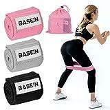 BASEIN エクササイズバンド トレーニング 筋トレ 強度別 ユニセックス 3本セット ヒップバンド 収納袋付き