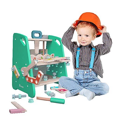 Arkmiido Banco de Trabajo de Madera para niños, Juego de simulación de construcción Creativa, Banco de Trabajo de Juguete de Madera Maciza Que Incluye Kit de construcción de Herramientas.