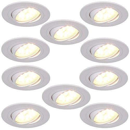 LED-Einbaustrahler 10er Set 5W | Einbauleuchte weiß rund | Einbauspot schwenkbar 3fach dimmbar | Decken-Einbaustrahler 3000K | 10x Einbaulampen modern | Deckenspot Switchmo + LED-Leuchtmittel