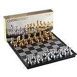 MAZEX Juego de ajedrez Plegable magnético para by Juego de Mesa de ajedrez para niños o Adultos (12.5X12.5X0.8 Inch, Gold&Silver Chess Pieces)