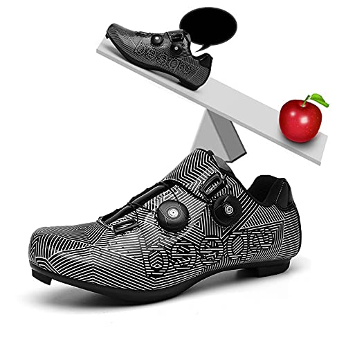 Zapatillas de Ciclismo de Carretera Unisex para Adultos, Zapatillas de Ciclismo para Hombre, Hebilla de Calzado giratoria para Montar en Carretera, Tacos Transpirables compatibles SPD,Gris,EU37 UK5