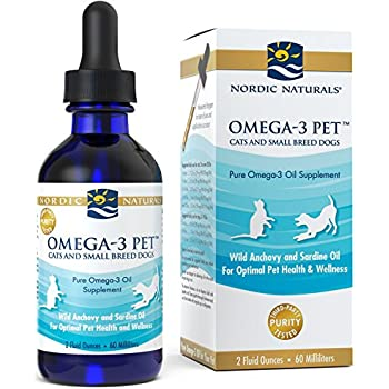 Nordic Naturals Omega 3 Pet - Fish Oil Liquid For Cats and Small Dogs, Omega-3s,EPA And DHA Supports Skin, Coat, Joint And Overall Health In Triglyceride Form For Optimal Absorption, 2 Ounces