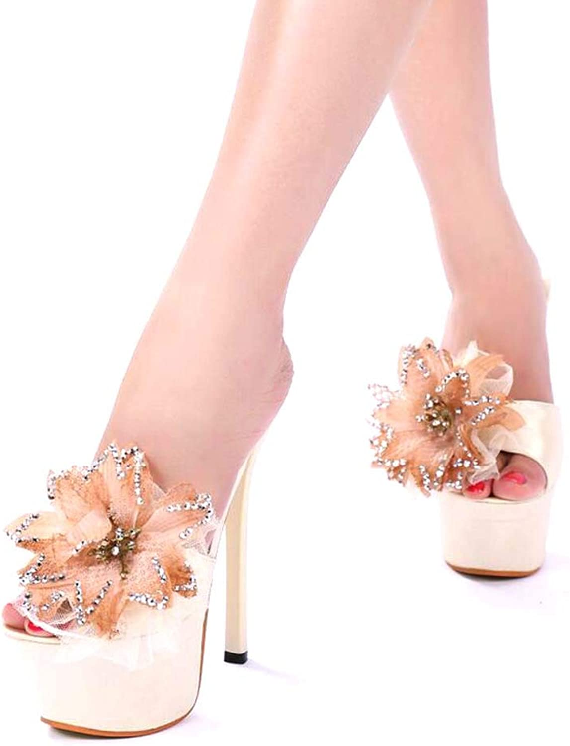 15 cm Bow Tie Slipper Mules,Women's shoes,Slippers Heels,Casual Party Beautiful Geblackus High Heels Lace Bow