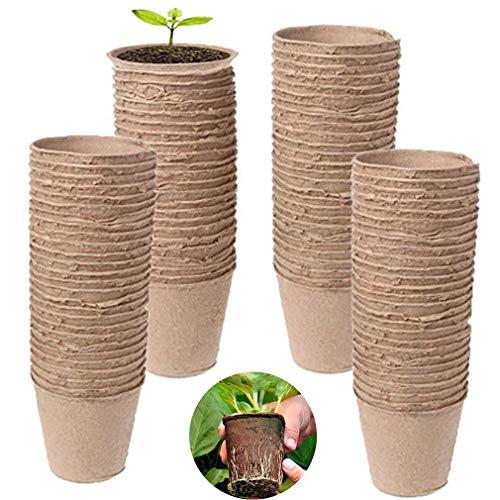 Eummit 100 Pcs Seedling Herb Semences Pots, 6 Cm Ronde Biodégradable Fibre De Papier De Pâte Végétale Tourbe Pots, Nursery Cup Plateau De Jardin Accueil La Culture Biologique Et Eco Friendly