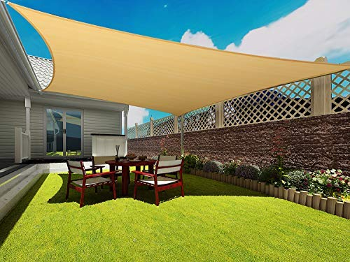COCONUT Rectangle Sun Shade Sail 16 X 20 Ft UV Block Sunshade Canopy Awning Cover for Outdoor Patio Deck Garden Lawn Yard (Sand Color), 16' x 20'