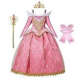 MYRISAM Vestidos de Princesa Aurora para Niñas Disfraz de Carnaval Bella Durmiente Traje de Halloween Navidad Cumpleaños Fiesta Ceremonia Aniversario Cosplay Vestir con Accesorios 7-8 años