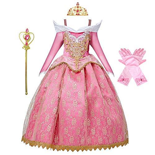 MYRISAM Vestidos de Princesa Aurora para Niñas Disfraz de Carnaval Bella Durmiente Traje de Halloween Navidad Cumpleaños Fiesta Ceremonia Aniversario Cosplay Vestir con Accesorios 5-6 años