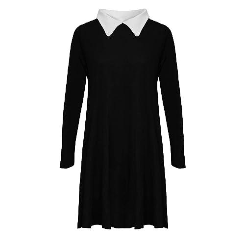 4c57d2f52b Re Tech UK Ladies Plain Peter Pan Collar Long Sleeve Swing Dress Midi  Skater A-
