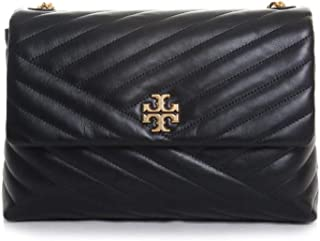 Tory Burch Kira Leather Chevron Quilted Flap Shoulder Bag in Black