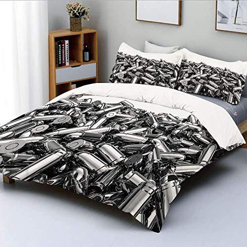 Juego de funda nórdica, pila de balas de plata de nueve milímetros en estilo 3D, munición, pistola, arma de fuego, tema decorativo, juego de cama de 3 piezas con 2 fundas de almohada, gris blanco, el