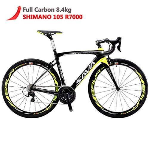 SAVADECK Herd 6.0 700C Bici da Strada T800 Fibra di Carbonio contesto 22 velocità Shimano 105 R7000 Michelin 700C*25C Pneumatico e Fizik Sella Leggera 18.3 lbs (54cm, Nero&Giallo)