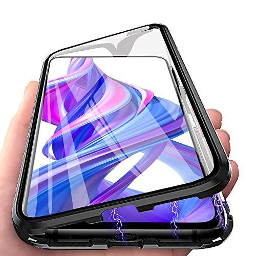 HülleLover Huawei P30 Pro Hülle, Handyhülle für Huawei P30 Pro New Edition Hülle Magnetic Adsorption, 360 Komplettschutz Schutzhülle Clear Doppelseitige Aus Gehärtetem Glas Metall Flip Tasche, Schwarz