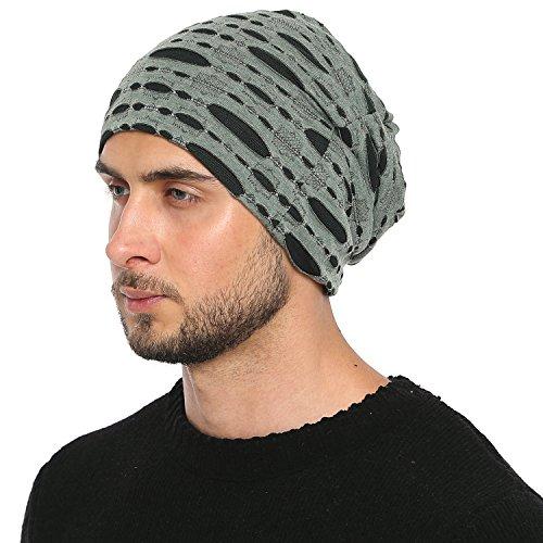 DonDon Hombre Jersey Gorro en Destroyed Look para todo el año clásico flexible gorro transpirable suave y adaptable a cualquier talla de cabeza - Verde Negro