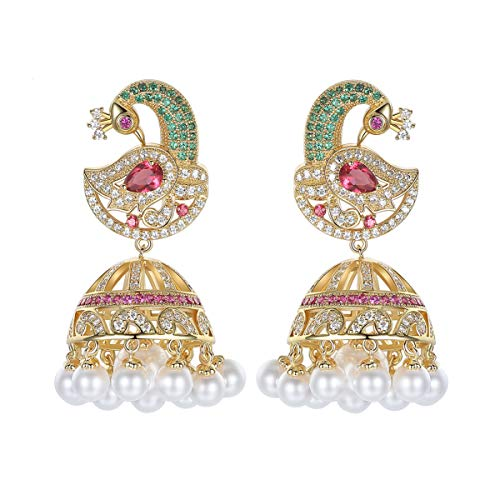 Braiton Cubic Zirconia Stud Earrings for Women Phoenix Earrings Fashion Retro Color Zirconium Female Long Pearl Earrings Pearl Chandelier Tassel Large Dangle Vintage Ethnic,Gold