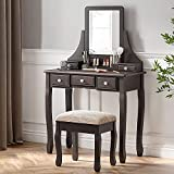 SHA CERLIN Makeup Vanity Table and Cushioned Stool Set, Dressing Table with 5 Storage Drawers, Bedroom Vanity Desk with Mirror for Women Girls, Espresso Brown