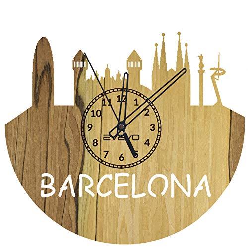 WoD Barcelona Reloj de Pared con Chapa de Madera Natural, Reloj Decorativo Moderno para Regalo, decoración del hogar, Buen Regalo, Reloj Barcelona