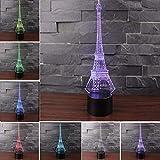 3D Illusion Lámparas NANXUN LED Vision estéreo lámpara 7 Color Phantom Atmosphere Light Con Base Acrílica Y Luces LED Inteligentes Decorativas USB (Torre de París)