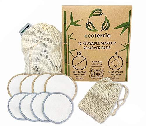 Lot de 16 tampons démaquillants réutilisables en coton de bambou avec sac à linge, lavables et respectueux de l'environnement