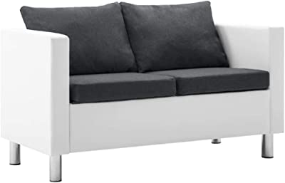 vidaXL Canapé 2 Places Similicuir Blanc Gris Foncé Salle de Séjour Sofa Salon