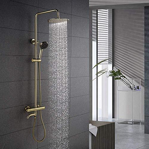JINKEBIN Conjunto de ducha moderno baño europeo cobre oro termostático ducha sistema de ducha de mano 3 función Booster ducha redondo Top spray grifo fijo