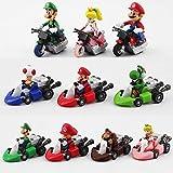 Romantic-Z 10 unids / Set Super Mario Bros Kart Pull Back Car Cute Figuras PVC Colección Figuras Juguetes brinquedos Juguete