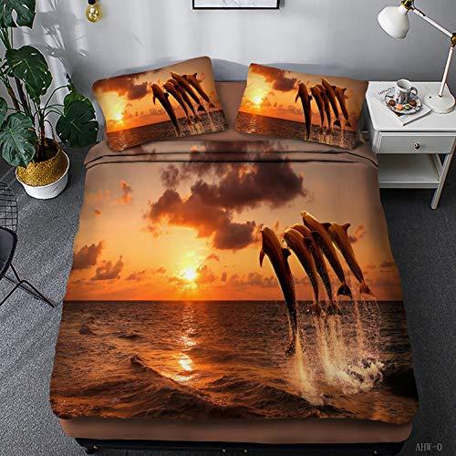 Wusan Teen Bedding for Girls Animal Dolphin Queen Size Boys Kids Comforter Sets Sunset Painting Pattern 1 Duvet Cover 2 Pillow Shams