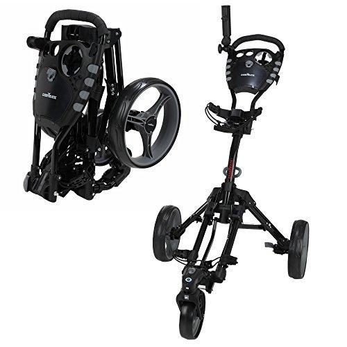 Caddymatic Golf 360° SwivelEase 3 Wheel Folding Golf Cart (Black/Gray)