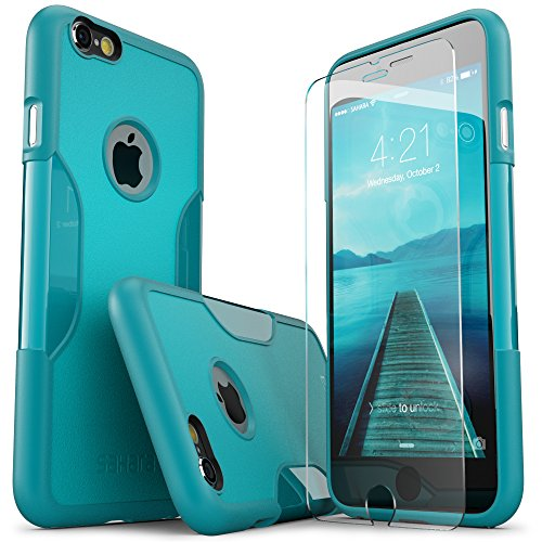 iPhone 6 Plus Case, SaharaCase Teal +Bonus Screen Protector Tempered Glass Rugged Slim [Best Rated Protective Kit] with Image Enhancing Design for Apple iPhone 6s Plus & 6 Plus - Teal