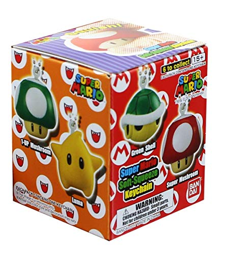Super Mario Soft Squeeze Key Chain- Blind Box (Random from pool of six keychains)