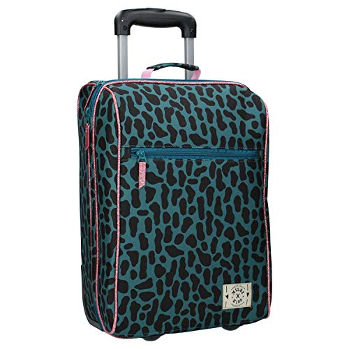 Milky Kiss – Koffer met wielen voor meisjes – Panthermotief – groen en roos – 45 cm