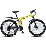 MYRCLMY Variable Speed Mountainbike Rennrad, 26-Zoll-Räder, Anfänger Oder Wiederkehrende Reiter, Leichter Aluminiumrahmen Quick Fold,Gelb,24 Speed