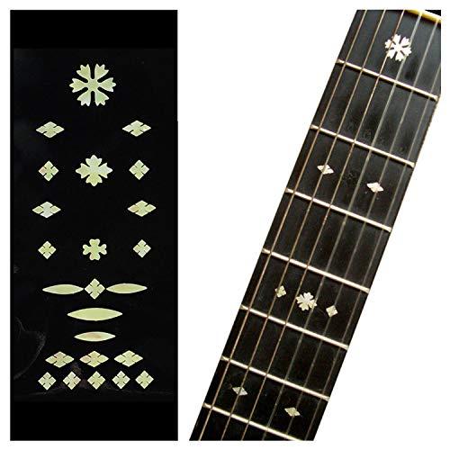 Inlaystickers - Marcadores para trastes para guitarras y bajos, diseño de copos de nieve, color blanco envejecido