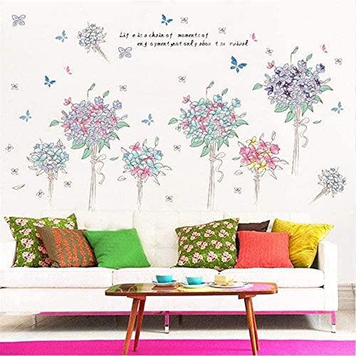 Mariposa y patrón de flores Etiqueta engomada de la pared de PVC para niños Habitación Sala de estar Pared DIY Decoración